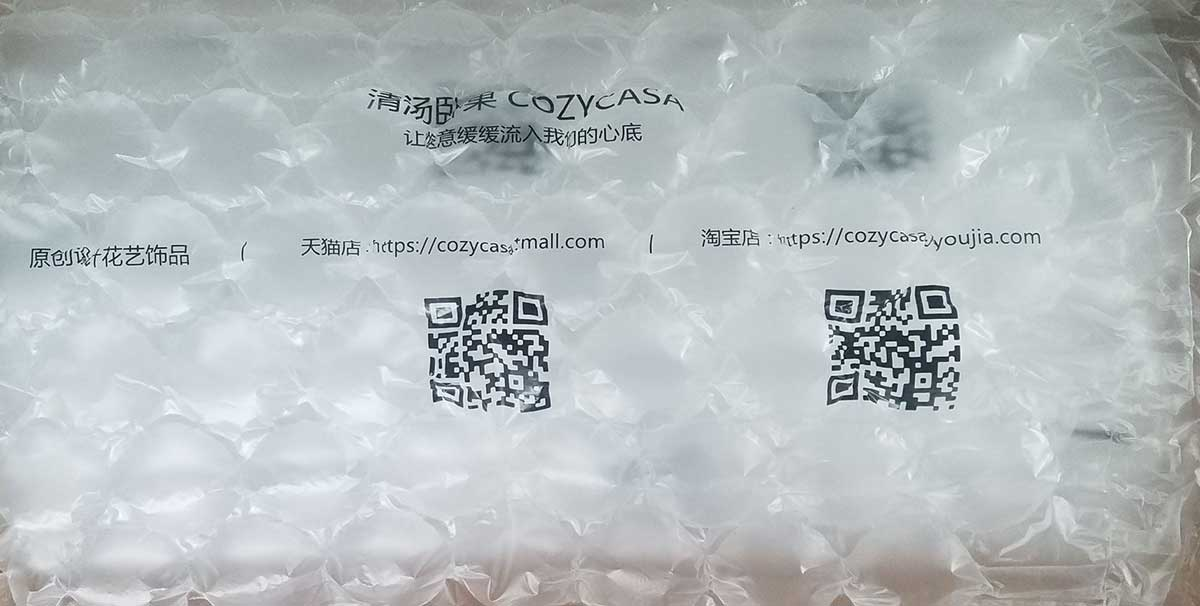 Printed air bubble wrap film